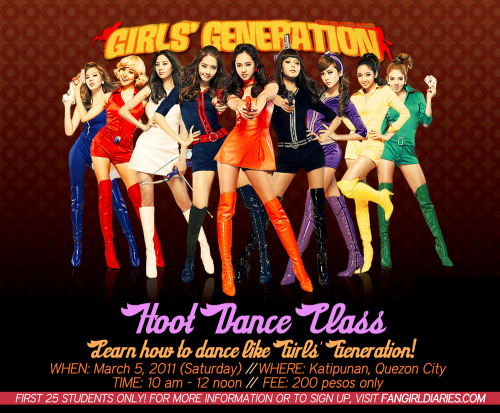 thefangirldiaries:  Join our next KPOP DANCE CLASS FOR SNSD'S HOOT! It will be this Saturday, March 5. Limited slots only, so make sure to sign up ASAP :) To sign up, go to THIS POST and comment with your name and e-mail address. We will then send you the official invite, and your slot will be considered reserved.