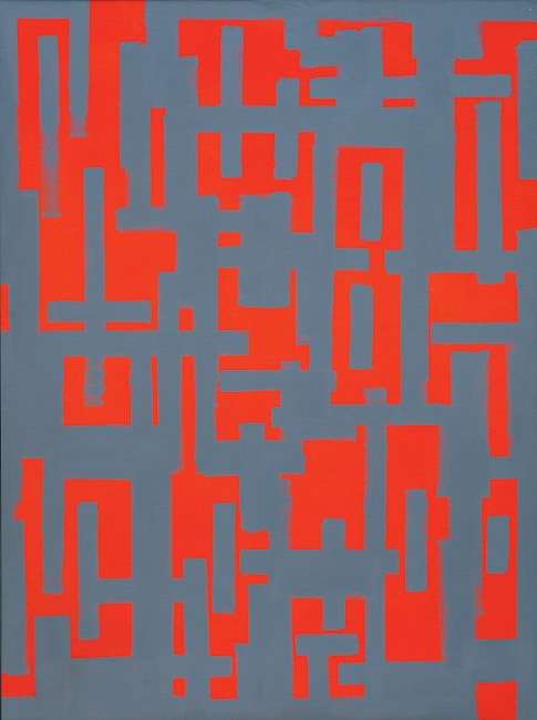 Ad Reinhardt, Untitled (Red and Gray), oil on canvas, 1950 http://www.nga.gov/exhibitions/2009/meyerhoff/index.shtm and http://www.moma.org/collection/browse_results.php?criteria=O%3AAD%3AE%3A4856&page_number=1&template_id=6&sort_order=1