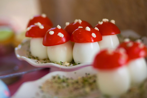gastrogirl:  egg and tomato 'mushrooms' for a fairy tea party.