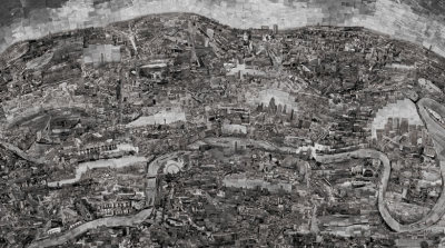Diorama Map: London (Sohei Nishino) [He] walked the city of London on foot for a month, wandering the streets and recording images from every possible angle. About 4,000 of these photographs, hand printed in his own dark room, were meticulously pieced together with scissors and glue in his Tokyo studio. The result was an aerial view of London, which was reshot as a completed collage to produce a final image. via The Guardian