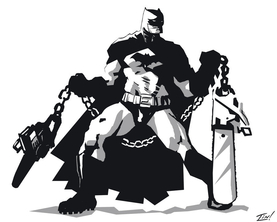 Batman with Chainsaw Nunchucks by =ninjaink on deviantART