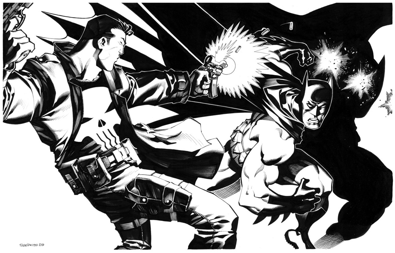 Punisher VS Batman by *chriss2d