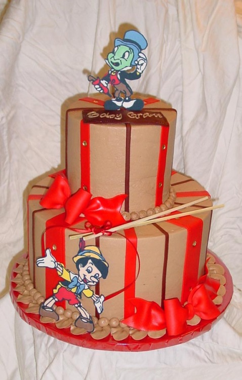 Pinnochio Baby Shower Cake (by cakesbyashley)