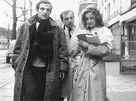 thefilmdirectory:  Director Francois Truffaut with Charles Aznavour and Mary Dubois (Tirez sur le Pianiste, Shoot the Piano Player, 1960)