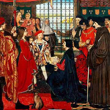 Erasmus and Thomas More visit the children of Henry VII  From Left to Right: Margaret, queen consort of Scotland, aged 10; Edmund Tudor, in the arms of a  nanny; Mary,  Queen of France aged 3; Henry VIII, King  of England (then Duke of York) aged 8. Absent—Arthur,  Prince of Wales, who was at Ludlow Castle at the time of the  scholar's visit.