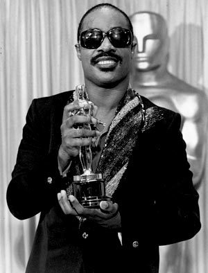 "Stevie Wonder with his Best Original Song Oscar for ""I Just Called To Say I Love you"" from ""The Woman in Red"" in 1985."