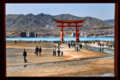My friends and I visited the Itsukushima shrine on a field trip from school. Before the trip, I was hoping for high tide, it would have been awesome to shoot HDR of Miyajima during sunset. I suppose I got to see the other side of it. Hundreds of people would be digging the seabed for clams during low tide. If you view this large, you can actually see people digging! Just after the visit to Itsukushima shrine, our group hiked up to the top of Mt. Misen with our Sensei, where you get a panoramic view of Miyajima and nearby islands. Anyway, it's always fun to find interesting perspective on days that come unexpected. James Chanwww.jcinspiration.com