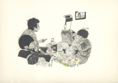 adambatchelor:  Unknown Crisis plus TV (Working Title) Pencil on Paper. ——————- This is to be included in my forthcoming solo show in May.