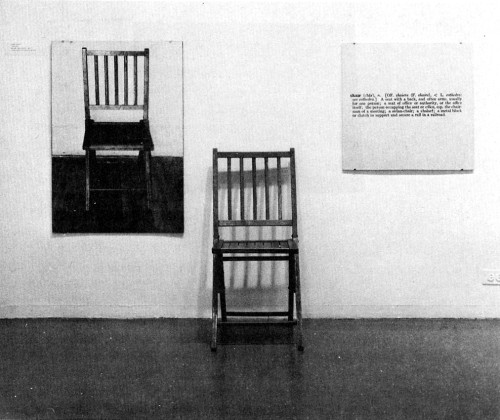 weepling:  Image of Joseph Kosuth's One and Three Chairs, 1965 (on display in various versions around the world). The artwork consists of a chair, a photograph of the chair, and the dictionary definition of 'chair'.