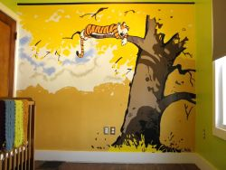 "thedailywhat:  Raising Children Right of the Day: Inspired by S. Rivas' Reynolds Home Calvin & Hobbes playroom mural, Redditor poerhouse painted this incredible C&H nursery mural for his unborn daughter. He says ""the plan is to insert a 'Wattersonized' version of her once she's two or three (and we know what she looks like),"" but I agree with Redditor hockymickle , who counters ""I kind of like it with just Hobbes. It implies that she's in Calvin's role without having to draw"