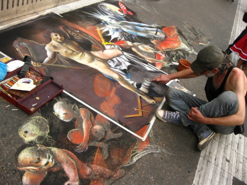 My photo of an amazing chalk artist near the Piazza di Trevi, Rome, 2009.