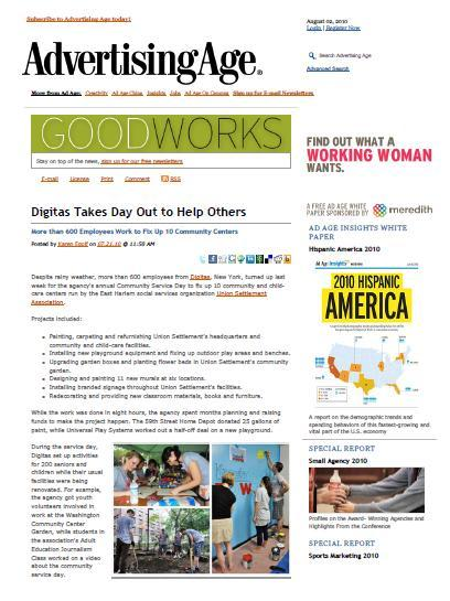 I've been published!  Sort of. Two of the pictures I took as part of our Community Service Day were published in Ad Age this summer.  Sure it was an online blurb, but its a start!