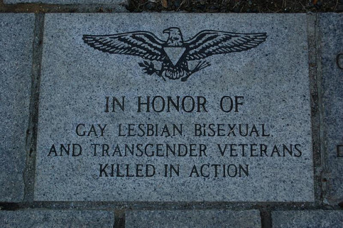 "Sacramento Memorial ""In honor of gay, lesbian, bisexual, and transgender veterans killed in action."" twoyearsbeforethemast:  Plaque on the State Capitol grounds in Sacramento, CA."