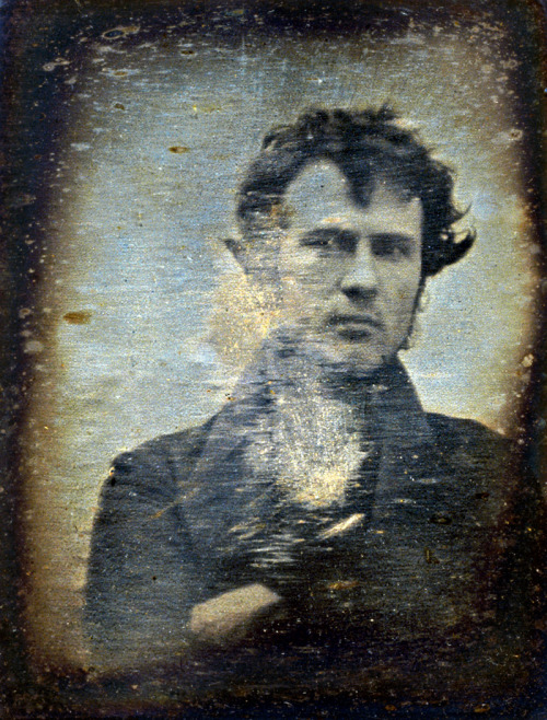 mydaguerreotypeboyfriend:  Robert Cornelius, the original daguerreotype boyfriend.  meandthemajor:  1839 self-portrait of Robert Cornelius, one of the first photographs of a human to be produced.