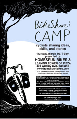 Great new Oakland-based community bike forum.  We'll be presenting some tips on planning a trip in norcal with bikes and transit—hint:  the trip is to a great, off-the-beaten path hot springs resort…and it isn't mentioned in the book!  Hope to see you there.