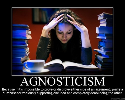 "I'm not one of those atheists who vociferously denounce agnosticism; most of the time I really don't care if somebody identifies as such, and indeed, I think that it's a comfortable position for a lot of people to take- when you don't have faith in the supernatural, but atheism sounds so final and resolute*, it just feels right to call yourself agnostic. But this picture, and the snarky tone it takes, bothers me enough to make me  tackle the topic. Bethany asked for me for the link to this brilliant article not too long ago, which posits that conservative media creates a false narrative of ""Both the left and the right do it; they're both guilty of ____."" in order to legitimize their actions.  I believe the same is true for many theists- and I've written about it before.  This demotivator is evidence of that in action- it equates atheism to theism as though they were equal but opposite viewpoints.  They're not.  Atheism and theism employ opposing thought processing, which leads them to opposing viewpoints, but the fact that those viewpoints are the opposite of each other is the result of their different processing.  In other words, atheism vs. theism is not ""there is a God vs. there is no God""; it is ""I require logical processing to arrive at a conclusion vs. I do not require logical processing to arrive at a conclusion.""  (And once again, I will point out that I am not loading the word ""logical"" with any value judgments- it simply means ""of deductive reasoning""). If you try to frame atheism as a form of faith, equal but opposite of religion, then obviously, agnosticism will be seen as the most sane option.  And indeed, if I accepted the concept that atheism and theism are two sides of the same coin, then I would probably be in full agreement with the caption here- yelling back and forth about something that can never be resolved (barring undeniable, miraculous proof of the divine) is the epitome of stupidity. But atheism is not faith- it is the absence of evidence.  Stephen Colbert has a penchant for cutely saying ""Agnostics just atheists without balls."", but the honest truth is that agnostics just don't get it.  (Or that they get it but are too afraid to either call themselves atheists, or to follow their weighing of the evidence to its logical conclusion). I value consistency over pretty much anything else- if you are not trying to push your agenda on me and you remain consistent in your ideology, then I tend to ignore you.  The only problem is that it is impossible to be consistent with a flawed premise, and agnosticism is no different: If you want to champion agnosticism, I stand by your choice, so long as you apply your agnosticism widely and consistently.  Not only must you consider and give validity and credence to the possibility of EVERYTHING that has ever been mentioned but not disproven (the FSM, Lochness, Big Foot, a monster hiding under your kid's bed), but also those things which nobody has even claimed to exist but still cannot be conclusively proven to not exist.  And if you really do approach life this way, well, 1) kudos, you are amazingly consistent, and 2) I feel incredibly sorry for you, living in a frightening and unpredictable world that must make mere existence rather horrifying. ETA: In perusing Tumblr, I came across a post featuring the following wonderful image, which is incredibly elucidating and shows clearly how agnosticism is not a middle point between atheism and theism:  * Which is still the way it is often perceived, even though nothing could be father from the truth.  Atheism is predicated on there being no credible, observable, objective proof of the supernatural.  If there were such proof, no atheist would deny it (although they might very well point out that something which is undeniably proven no longer requires faith and is such, can no longer be called supernatural)."