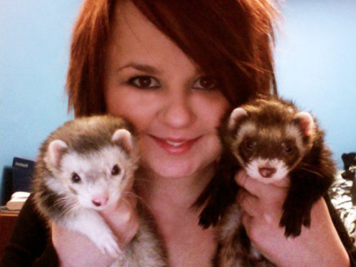me and my babies.  Aiko on the left, Dahlia on the right.