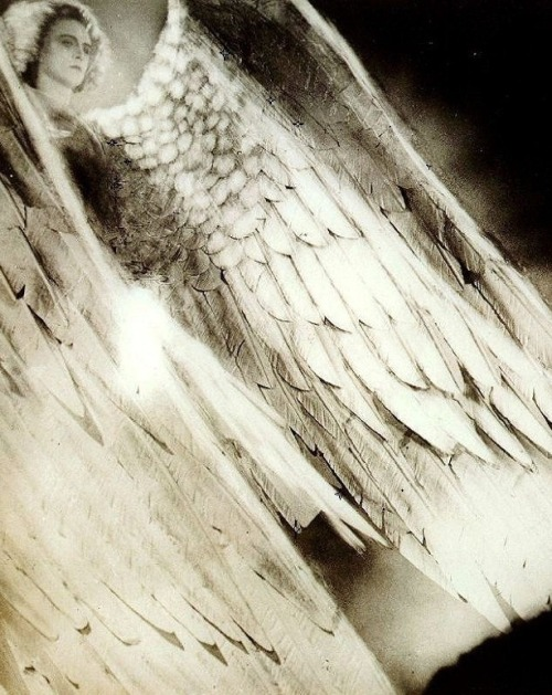 "Werner Fuetterer as the Archangel in Faust (1926, dir. F. W. Murnau)  ""I think Murnau's imperturbable calm in the studio was due not only to a sense of discipline, but also because he possessed that passion for 'play' itself which is necessary and essential to any kind of artistic activity.  For instance, I'd made a steam apparatus for the heaven scene in the Prologue to Faust. Steam was ejected out of several pipes against a background of clouds; arc-lights arranged in a circle lit up the steam to look like rays of light. The archangel was supposed to stand in front and raise his flaming sword. We did it several times, and each time it was perfectly all right, but Murnau was so caught up in the pleasure of doing it that he forgot all about time. The steam had to keep on billowing through the beams of light until the archangel — Werner Fuetterer — was so exhausted he could no longer lift his sword. When Murnau realized what had happened, he shook his head and laughed at himself, then gave everyone a break."" -Faust art director Robert Herlth, quoted in Lotte Eisner's Murnau. The scene Herlth is discussing is online here."