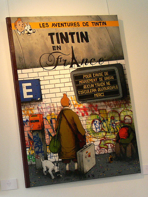 Tintin in France By Dran (by vitostreet) …Snowy in a muzzle?!