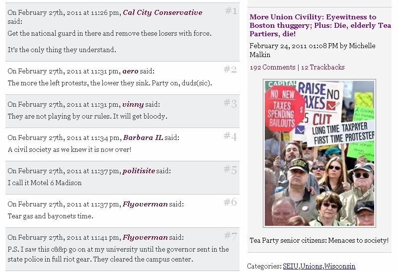 "Comment thread from Michelle Malkin's post on the labor protests at the Wisconsin capitol and decision not to clear the building of protesters. Behold the hypocrisy. Is it just me or does the comment column make that ""union civility"" whine look stupid, hypocritical, insane, etc.? You've got to wonder what it is that these people do to their brains to maintain this level of cognitive dissonance. Wood alcohol martinis maybe?"