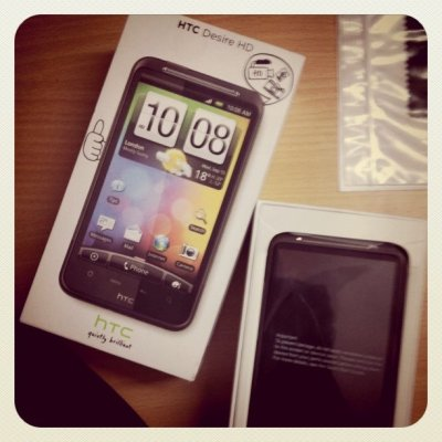 Unboxing HTC Desire HD (Taken with instagram)