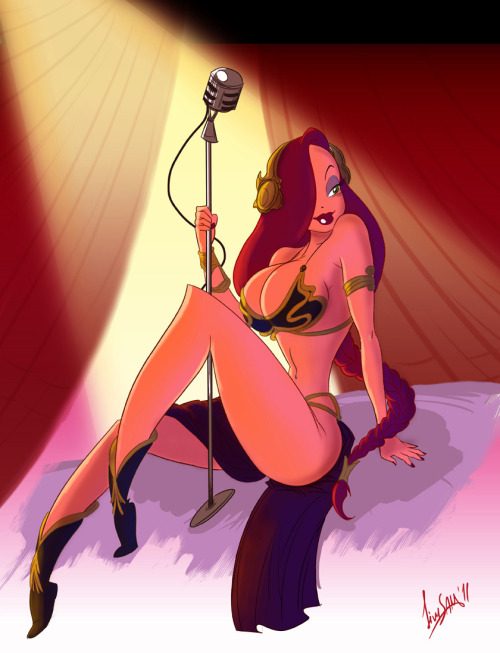 Aaaaand Jessica Rabbit dressed up as Jabba slave Princess Leia. (via io9)