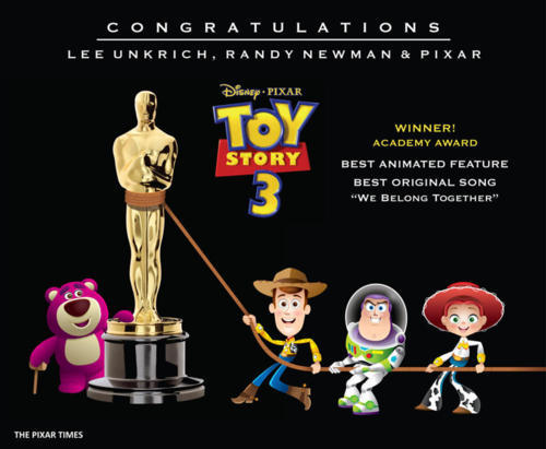 thekfong:  My life is complete now that I have seen My Life (Toy Story) win Best Animated Film and Best Original Song at the Academy Awards.