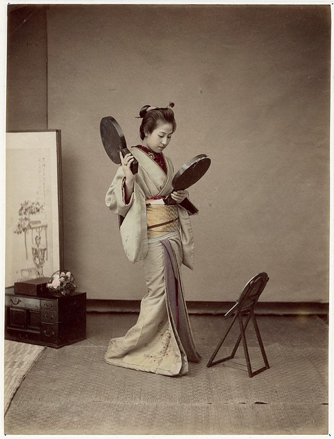 Japanese woman with mirrors by Shin-E-Do, ca 1890.  Great inspiration for a steampunk geisha.  ;)