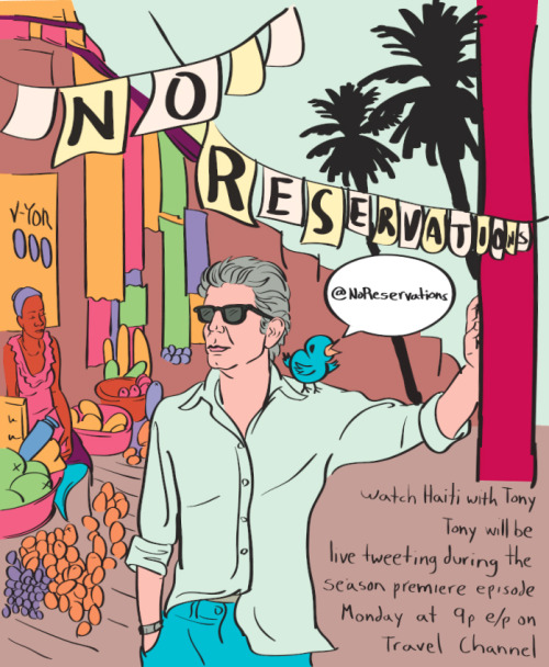 helencho:  Anthony Bourdain: No Reservations season premiere TONIGHT at 9pm e/p on Travel Channel! Follow Tony @NoReservations for all the livetwatting action. Artwork by Stephen Andolino, check out more of his work here: http://www.stephenandolino.com