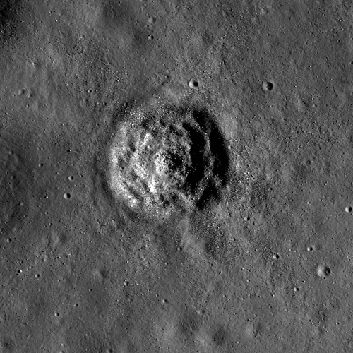 Small crater within Aitken crater. It has a terraced and hummocky floor, with boulders strewn about, and no bright rays. NAC image M145855135RE, image width is 700 m (via Terraced Craters in Aitken Crater - LROC News System)