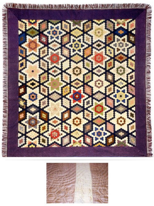 Mosaic patchwork quilt by Marina Jones Gregg, 1852, Charleston, SC. Made of silk fabrics, cotton batting and silk fringe. The quilt is 103 ½ inches long by 97 ½ inches wide. The hexagon templates are 1 3/8 inch. This masterpiece is a pattern called Stars and Diamonds. The backing is composed of gold and yellow silks, which were pieced together. The mosaic patchwork is quilted inside each hexagon, 1/8 inch from the seam lines. The navy blue silk border is quilted in cable design; the quilting averages fourteen stitches to the inch. The Charleston Museum also has the brass template Marina used to make the paper templates. Marina Gregg received an award, a silver pitcher, for her efforts on this quilt.   Marina was born in 1811 to Col. Mathias and Clara Perry Jones. She married William Gregg in 1829. William was a silversmith and jeweler and it is most likely that he made the brass templates for this quilt. The couple lived at 148 Rutledge Avenue in Charleston, then later in Graniteville,  SC, where William became a textile manufacturer. Marina died in 1899 and is buried in Magnolia  Cemetery.   To learn more about mosaic patchwork quilts and even Marina Gregg, see our publication Mosaic Quilts: Paper Template Piecing in the Lowcountry. The Marina Gregg quilt graces the cover. TEXTILE TUESDAYS: Each Tuesday we post a piece from our textile collection.  Some items have been on exhibit, some will eventually be shown in our new Historic Textiles Gallery and some may be just too fragile to display. We hope you enjoy our selection each week – do let us know if there's something in particular you'd like to see on TEXTILE TUESDAY! #TextileTuesday