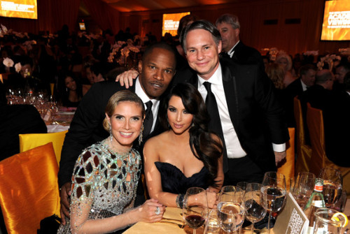 Heidi Klum, Jamie Foxx, Kim Kardashian, and Jason Binn at the 19th Annual Elton John AIDS Foundation Academy Awards Viewing Party at the Pacific Design Center, February 27, 2011.