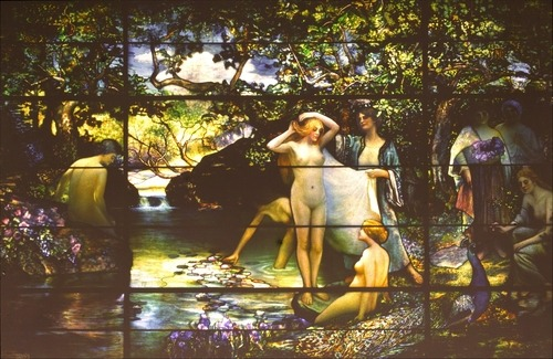 "Autochrome of ""The Bathers"" Window, c.1914 by Louis Comfort Tiffany"
