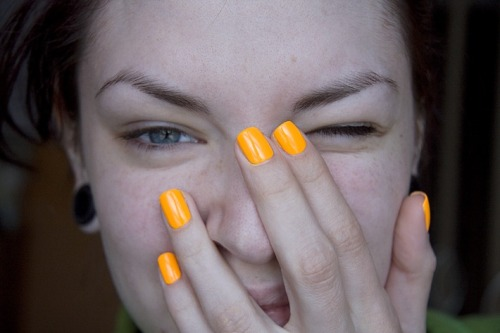 "China Glaze ""Sun Worshiper"", via Killer Colours. There's nothing better than a neon photographed in daylight. It's not the same otherwise!"