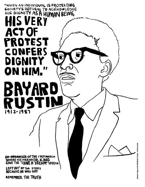 bluejaysandbackalleys:  brownroundboi:   bayard rustin (black and white version) by arimoore    This guy!