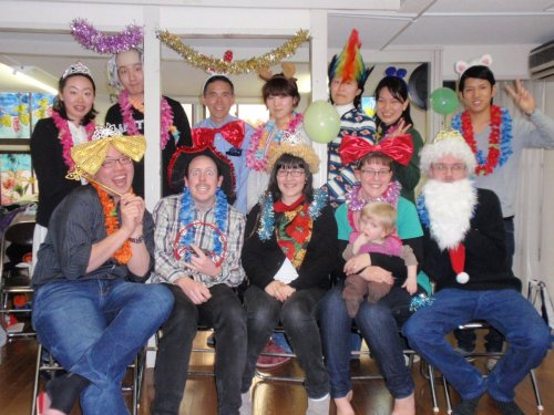 "Photo: Our kickoff party at Nishi-Waseda Church. Costumes were provided. Click on the photo to get to our new Flickr account and view more photos! ONLY 2 WEEKS LEFT!!! Tomorrow, we hop on the bus to Osaka for eight hours. We have made some truly incredible relationships here. For the last week we will be visiting our friends for the last time and making sure that they know the way that God really feels about them. We will also be in the process of handing off all of the ministries that God has given us responsibility for during this time. Japan Family Japamily Japam- a prayer that is understood and repeated over and over until one's heart prays continually. ""Lord, send revival to Waseda University."" I feel that this is a good summary of what has happened here. We sought intimacy and personal relationship with God above all things. We made a real family. We committed ourselves to God's heart and the hearts of our teammates. From this place, we saw God moving and simply joined in. We quickly realize that we are not able to change Japan and go to the place of prayer. God, I am changed by your love Japan, I will carry you in my heart You are the lost sheep You are the silver coin I won't stop until you are found"