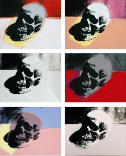 "Skulls, 1976 print series by Andy Warhol.  Sigmund Freud writes:  ""The moment a man questions the meaning and value of life, he is sick, since objectively neither has any existence; by asking this question one is merely admitting to a store of unsatisfied libido to which something else must have happened, a kind of fermentation leading to sadness and depression. I am afraid these explanations of mine are not very wonderful. Perhaps because I am too pessimistic. I have an advertisement floating about in my head which I consider the boldest and most successful piece of American publicity: 'Why live, if you can be buried for ten dollars?'"" (Sigmund Freud in a letter to Marie Bonaparte, 13 August 1937, in Letters of Sigmund Freud 1873-1939)."