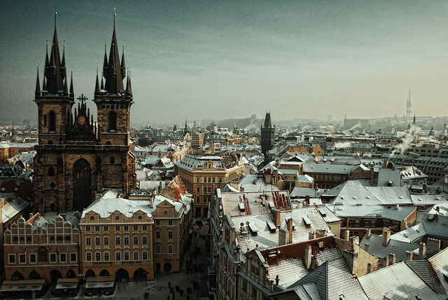 ysvoice:   | ♕ |  Prague in snow  | by © ewitsoe Prague never lets you go… this dear little mother has sharp claws — Franz Kafka  via oedipus- : mmonsters : ysvoice : petapeta