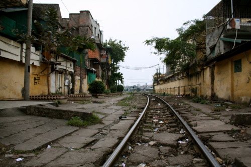 Down the tracks — Hanoi, Vietnam, 1/2011 (Scenes from Jacques and Liz's Asian Adventure)
