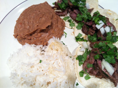 I made carne asada tacos with jasmine rice and refried beans.