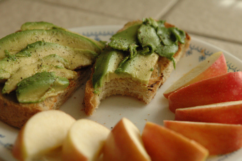 Avocado on toast with sliced apples. The only thing that could make this better is if it were deep fried.  [via yack attack!]