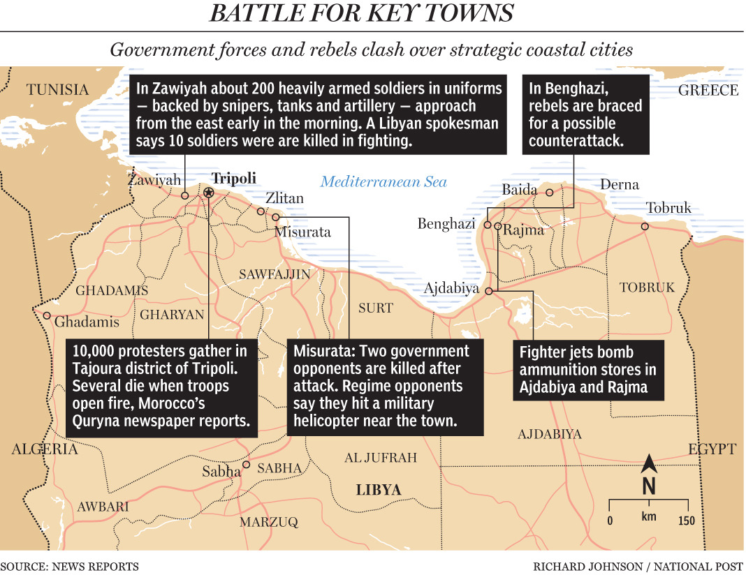 Map: Battle for key Libyan townsGovernment forces and rebels clash over strategic coastal citiesTerry Glavin: Middle East myths drop like dominosLibyan evacuation rescues westerners from their own decisions Goodspeed Analysis: Mission to save citizens in Libya a first for China