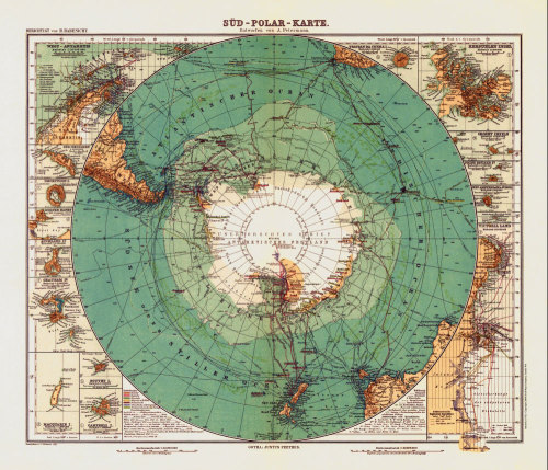 "Antique Map of Antarctica 1912 Antique map reproduction of Antartica created by A. Petermann circa 1912. This beautifully drawn antique map is originally entitled ""Sud Polar Karte"" and depicts the continent of Antartica."