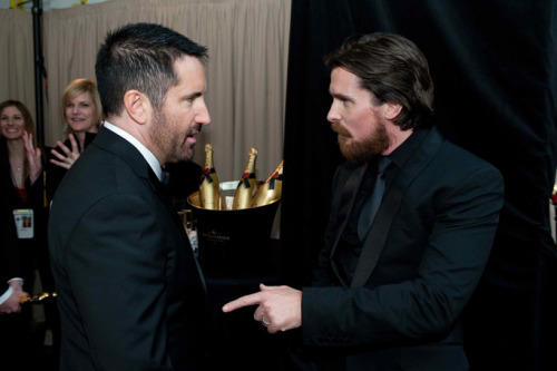 verysherry:  Trent Reznor and Christian Bale | Oscar Governor's Ball  Two epic men together. Love it.