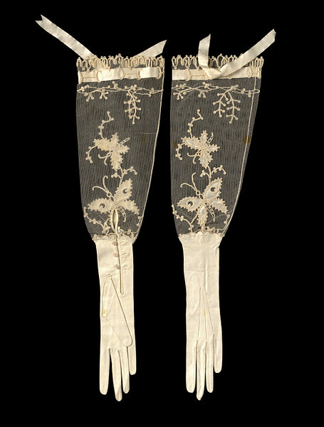 yeoldefashion:  Late 19th Century kid leather and net evening gloves decorated with butterflies.