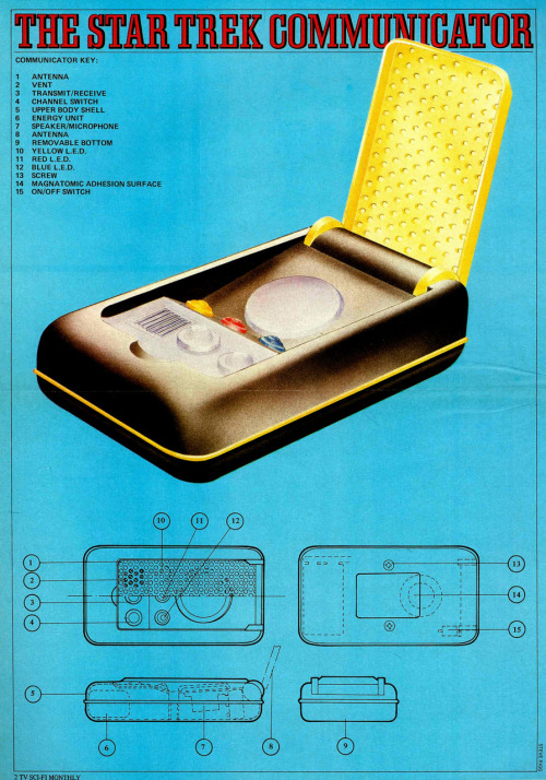 Anatomy of a Star Trek The Original Series communicator. Sci-Fi Monthly :: New English Library :: 1976 (see also Anatomy of a Star Trek The Original Series phaser previously posted here)