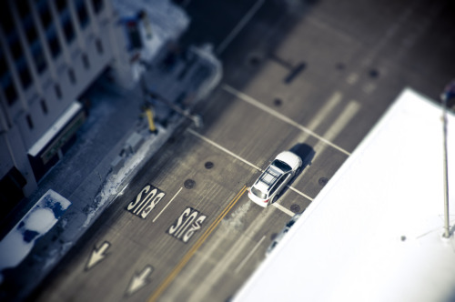 thetanr:  My first attempt at tilt shift—looking from the Foshay.  This is really neat.