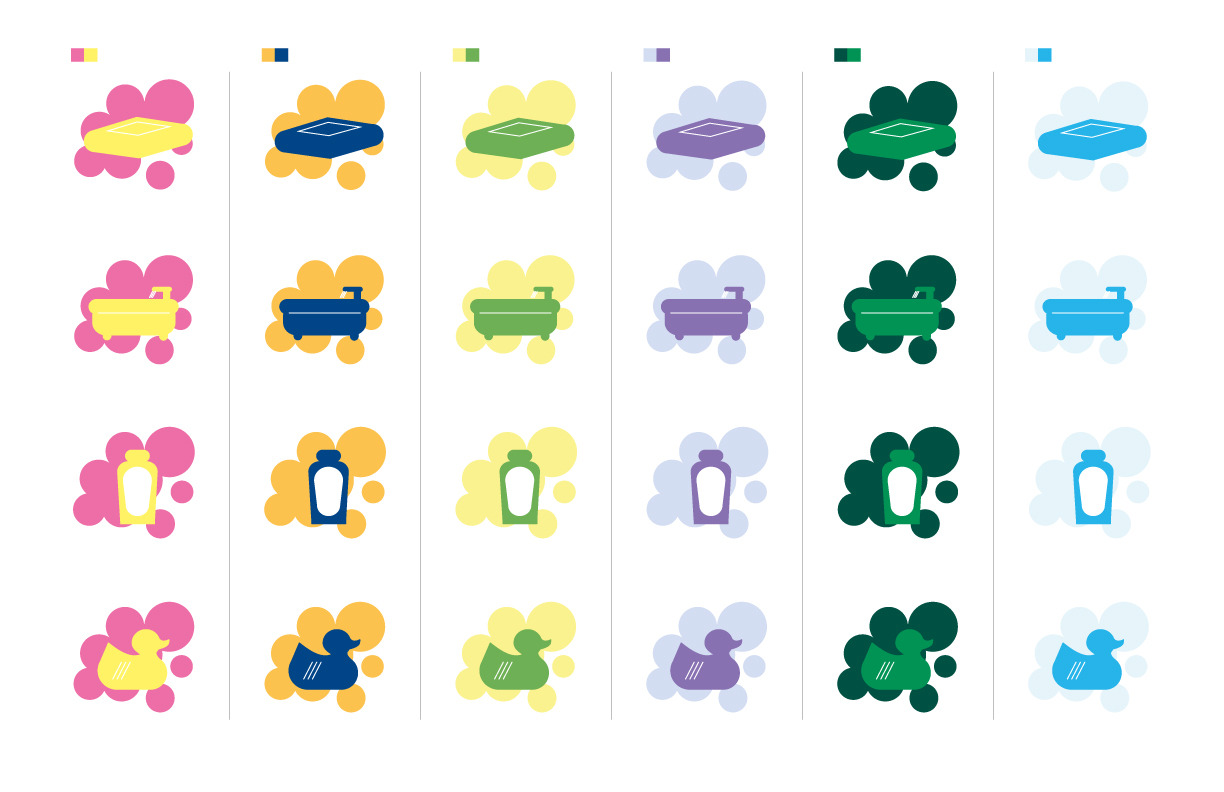 Color experiments for my pictograms. I chose the light blue style on the far right.