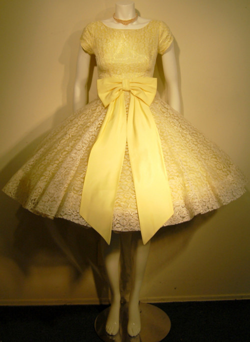 1950's-1960's Yellow with Cream Lace Overlay Party Dress