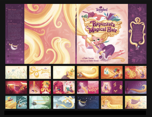 claireonacloud:  Here's the picture book I illustrated for Tangled, Rapunzel's Amazing Hair, written by Kiki Thorpe   This is one of the most beautifully illustrated books in our library, no joke. It's so pretty I could flip through it forever!